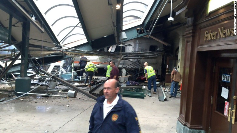 """A section of roof lies on the platform after a New Jersey Transit train <a href=""""http://www.cnn.com/2016/09/29/us/new-jersey-hoboken-train-crash/index.html"""" target=""""_blank"""">crashed at the Hoboken station</a> on Thursday, September 29. One person was reported dead, and dozens of others were injured."""