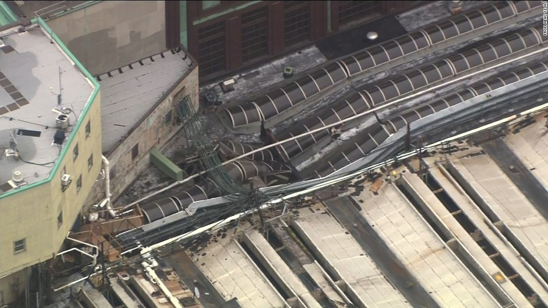 Part of the station's roof is collapsed.