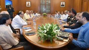 Indian Prime Minister Narendra Modi (3rd L) chairs a Cabinet Committee on Security meeting in New Delhi on September 29.
