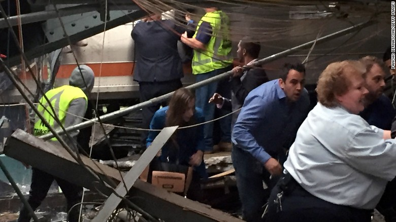 Train crashes in Hoboken, New Jersey
