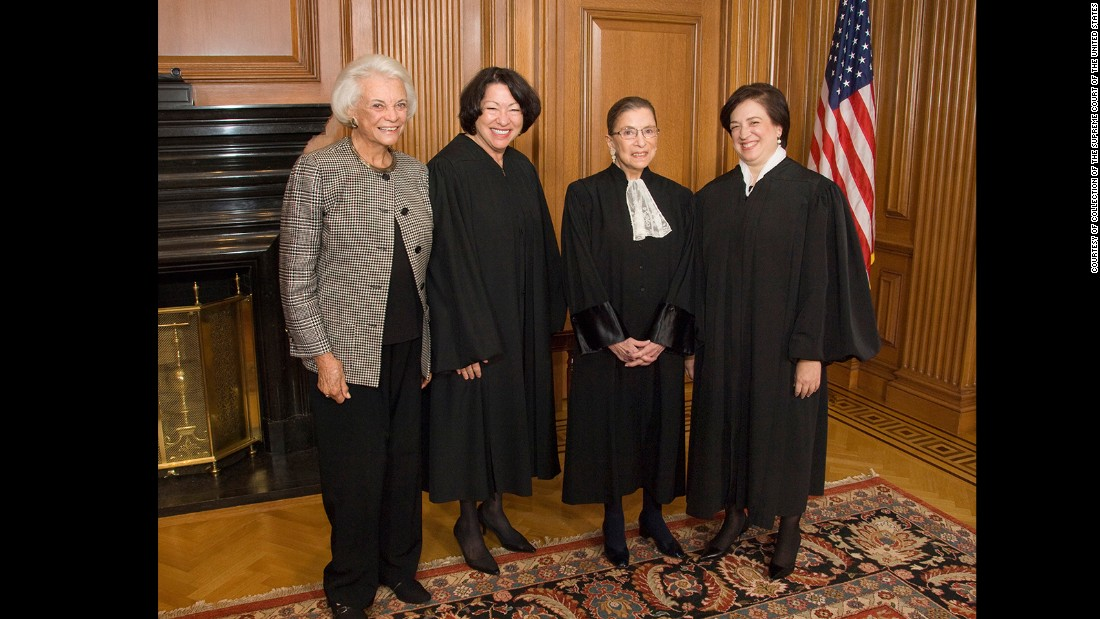 "The only women who have become Supreme Court justices pose in the Justices' Conference Room on October 1, 2010, the day of Justice Elena Kagan's investiture. Standing, from left to right, are retired Justice Sandra Day O'Connor and Justices Sonia Sotomayor, Ruth Bader Ginsburg and Elena Kagan. These images are part of a collection from the book ""My Own Words"" by Ruth Bader Ginsburg with Mary Hartnett and Wendy W. Williams, published by Simon & Schuster."