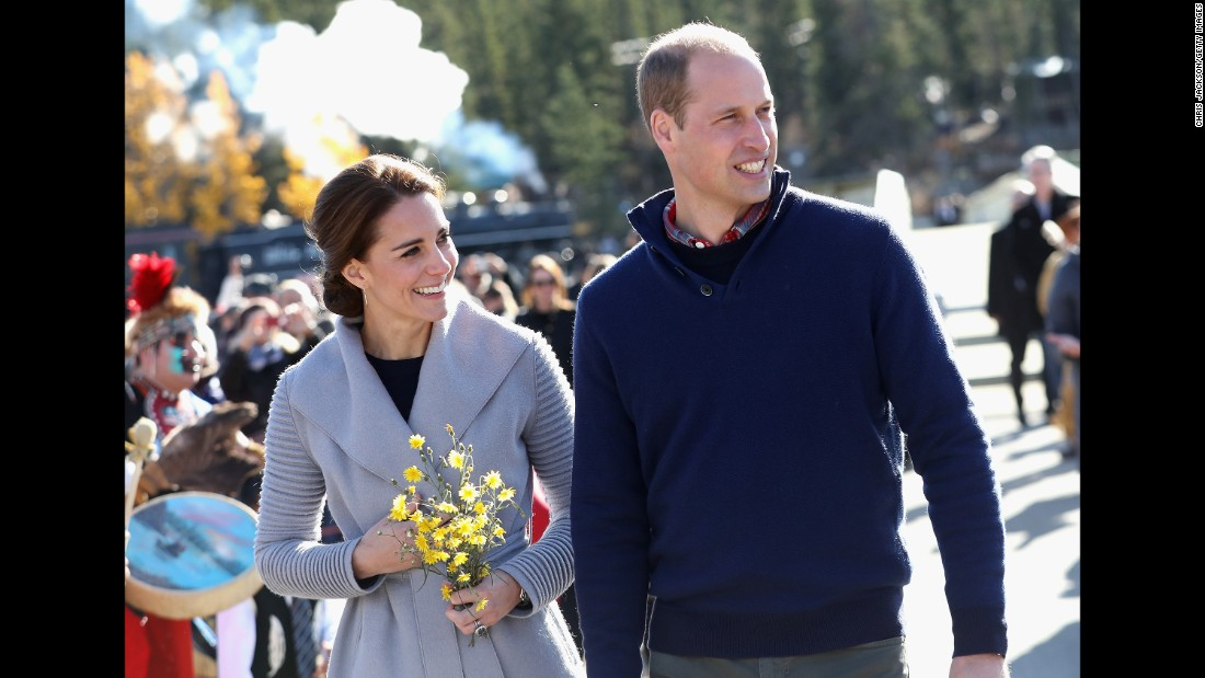 Catherine and William greet a crowd in Carcross on September 28.