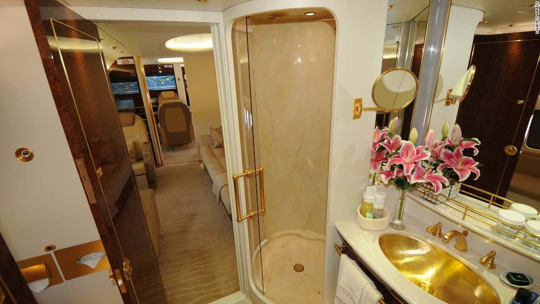 Masterjet is a European private aviation company. This is the bathroom on board an Airbus ACJ 320.