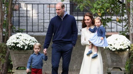 VICTORIA, BC - SEPTEMBER 29:  Catherine, Duchess of Cambridge, Princess Charlotte of Cambridge, Prince George of Cambridge and Prince William, Duke of Cambridge arrive for a children's party for Military families during the Royal Tour of Canada on September 29, 2016 in Victoria, Canada. Prince William, Duke of Cambridge, Catherine, Duchess of Cambridge, Prince George and Princess Charlotte are visiting Canada as part of an eight day visit to the country taking in areas such as Bella Bella, Whitehorse and Kelowna  (Photo by Chris Jackson - Pool/Getty Images)