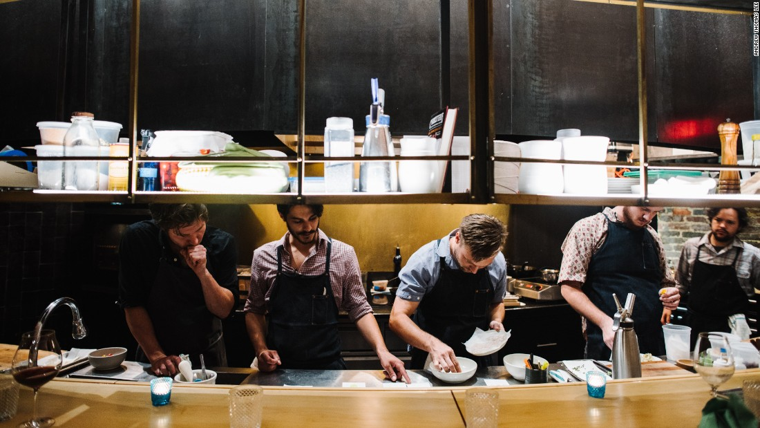 Bastion is a new 24-seat restaurant-within-a-bar from chef Josh Habiger, center. The menu features two-word descriptions that belie the complexity of each carefully constructed dish.