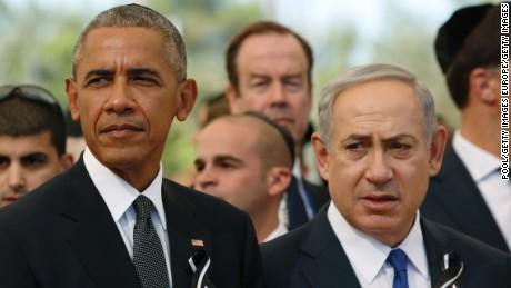President Obama sat next to Israeli Prime Minister Benjamin Netanyahu during the ceremony.