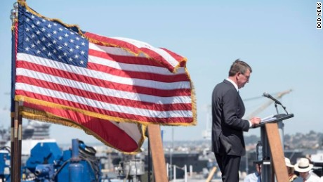 US Secretary of Defense Ash Carter addresses US Navy personnel on the deck of the USS Carl Vinson in San Diego on September 29.