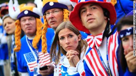 AUCHTERARDER, SCOTLAND - SEPTEMBER 28:  Team USA fans look focused during the Singles Matches of the 2014 Ryder Cup on the PGA Centenary course at the Gleneagles Hotel on September 28, 2014 in Auchterarder, Scotland.  (Photo by Jamie Squire/Getty Images)