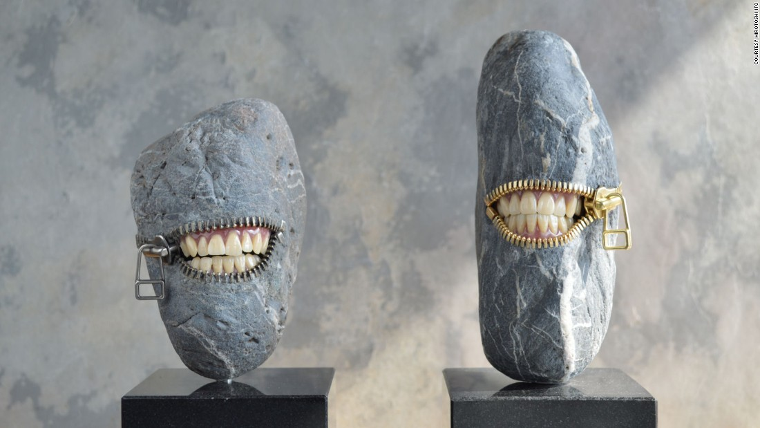 """In Japanese artist <a href=""""http://www.jiyuseki.com/english/english.html"""" target=""""_blank"""">Hirotoshi Ito's work</a>, the nature and civilization collide in humorous stone works. He, however, rejects any surrealist labeling. <br /><br />""""I was influenced as much as by the spirit of fun that Japanese traditional crafts have as by some works of surrealists,"""" he says."""