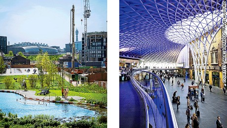 Left: King's Cross Pond Club, a naturally filtered swimming pool with views of St. Pancras International and the BT tower. Right: The newly refurbished departures concourse at King's Cross station.