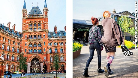 Left: St. Pancras International, which now houses the Renaissance Hotel. Right: Students from Central St. Martins, near the art school's new Granary Square campus.