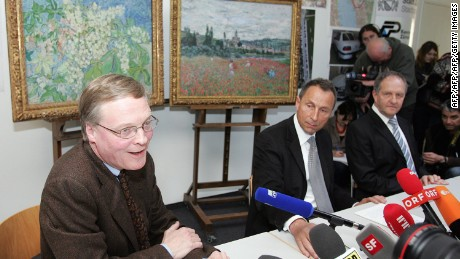 President of the Buehrle Foundation museum Lukas Gloor and Zurich police hold a press conference after two of the four stolen paintings were retrieved
