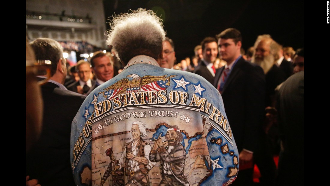 Boxing promoter Don King walks through the audience before the presidential debate in Hempstead, New York, on Monday, September 26.