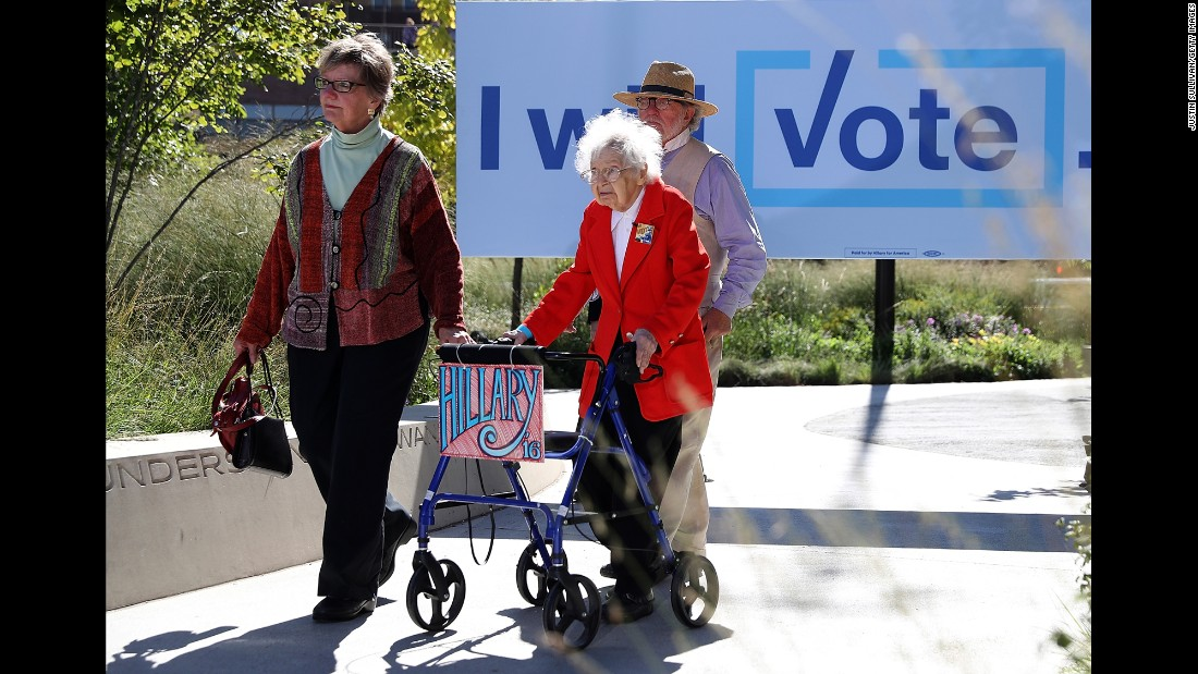 "Ruline Steininger, 103, arrives at a Hillary Clinton campaign rally in Des Moines, Iowa, on Thursday, September 29. Steininger also <a href=""http://www.cnn.com/2016/09/30/politics/103-ruline-steininger-hillary-clinton/"" target=""_blank"">met with the Democratic nominee</a> and cast her early vote."