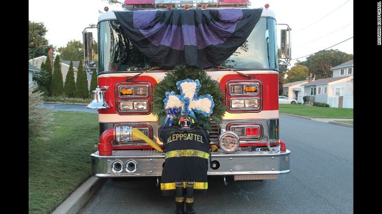 Fred Kleppsattel's firefighter turnout jacket on a Kings Park fire engine.