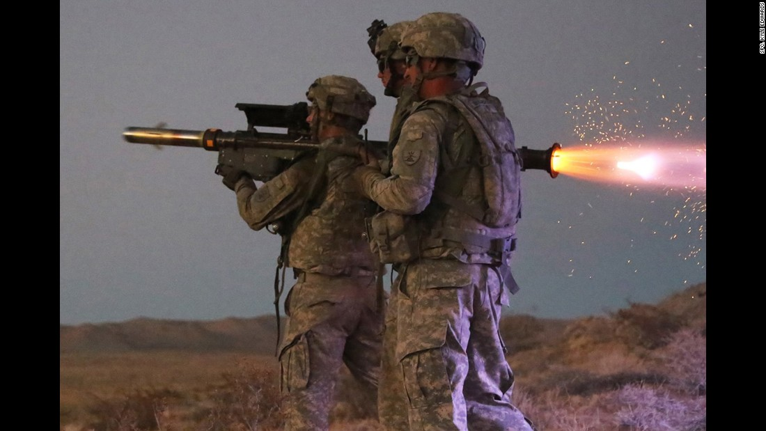 Members of the North Dakota National Guard fire a Stinger missile during a training exercise in Fort Irwin, California, on Tuesday, September 6.