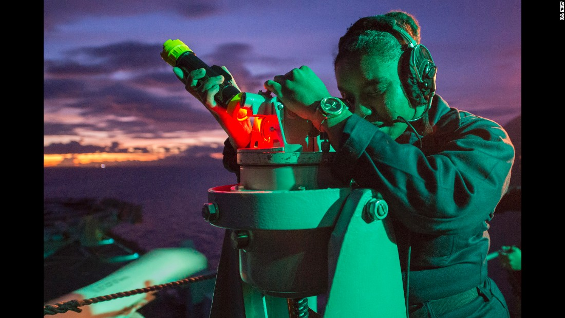 Quartermaster Seaman Daija Anderson takes navigation readings aboard the USS Bonhomme Richard, an amphibious assault ship in the Philippine Sea on Monday, September 26.