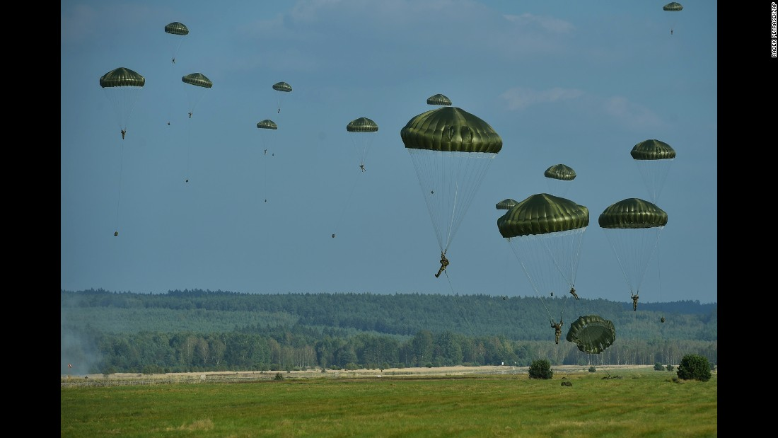 U.S. and Czech paratroopers train together at a former military airport in the Czech Republic on Tuesday, September 27.