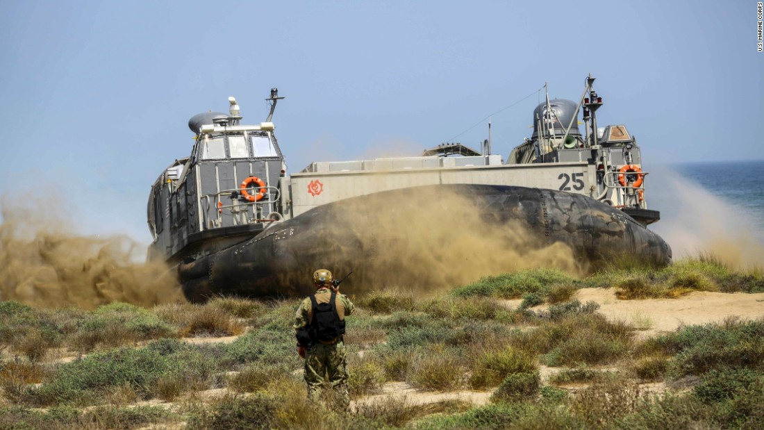 A U.S. hovercraft is used during a training exercise in Muscat, Oman, on Wednesday, September 21.