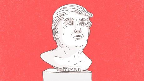 trump statue greek illustration