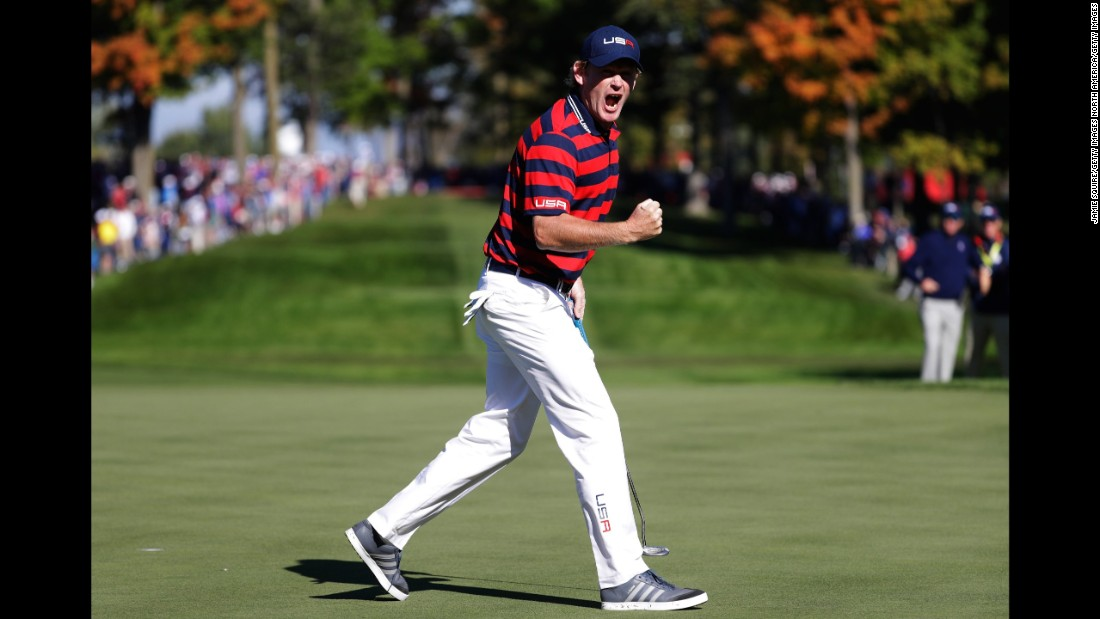 Brandt Snedeker of the United States celebrates after a putt on the 13th green.
