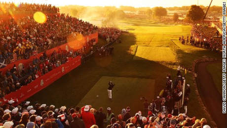 CHASKA, MN - OCTOBER 01: (EDITORS NOTE: A graduated color filter was used for this image.) Brooks Koepka of the United States hits off the first tee during morning foursome matches of the 2016 Ryder Cup at Hazeltine National Golf Club on October 1, 2016 in Chaska, Minnesota.  (Photo by David Cannon/Getty Images)