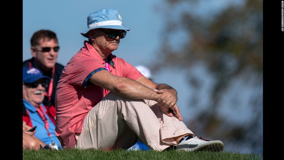 Actor and Comedian Bill Murray watches the Saturday morning foursomes matches.