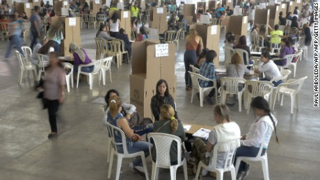 Picture taken at a polling station during the referendum on whether to ratify a historic peace accord to end a 52-year war between the state and the communist FARC rebels, in Medellin, Colombia, on October 2, 2016. The accord will effectively end what is seen as the last major armed conflict in the Western Hemisphere. The war has killed hundreds of thousands of people and displaced millions. / AFP PHOTO / RAUL ARBOLEDARAUL ARBOLEDA/AFP/Getty Images