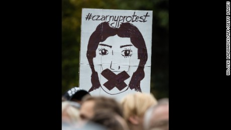 People attend the anti-government, pro-abortion demonstration in front of Polish Pariament in Warsaw, Poland on October 1, 2016.