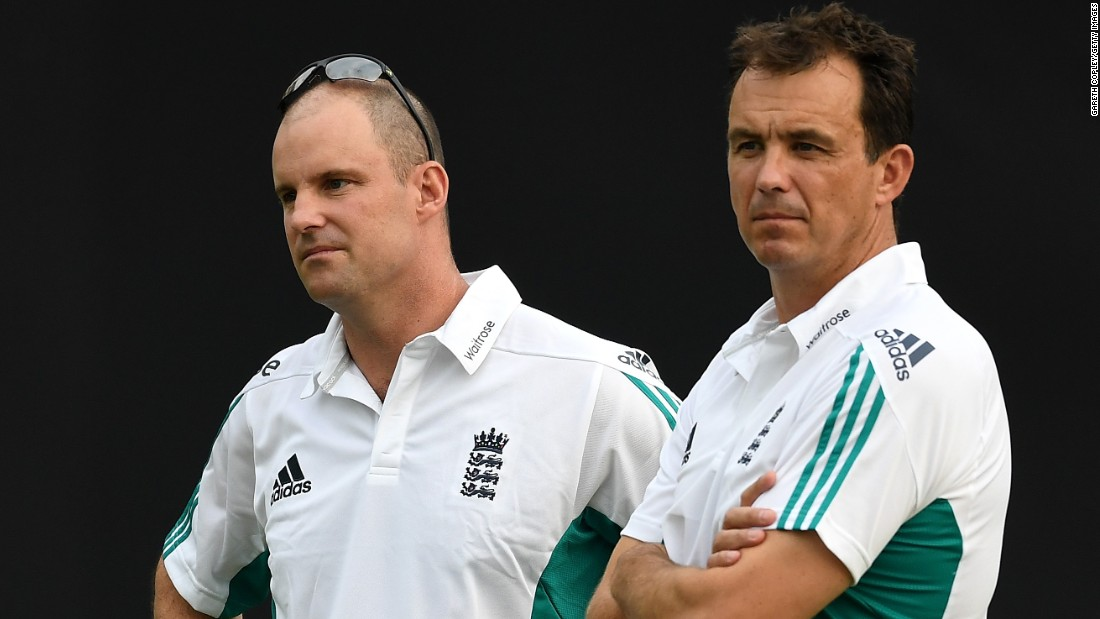 """Director of England cricket Andrew Strauss (L) and England & Wales Cricket Board Chief Executive Tom Harrison have also traveled to Bangladesh with the team. Strauss, a former England captain, said the squad were """"really happy"""" to be in Bangladesh and said if he and Harrison hadn't gone it would  felt """"slightly off the mark."""""""