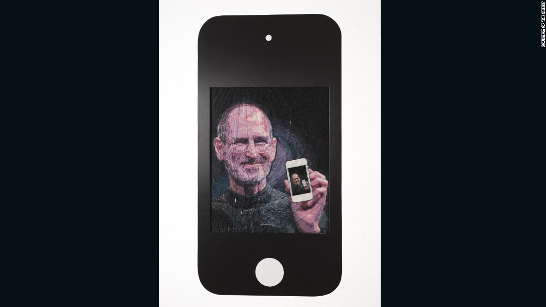 """Framed by a faux-iPhone, """"Steve"""" is one of the artist's micro-mosaics, large and detailed works comprised of dyed gum."""