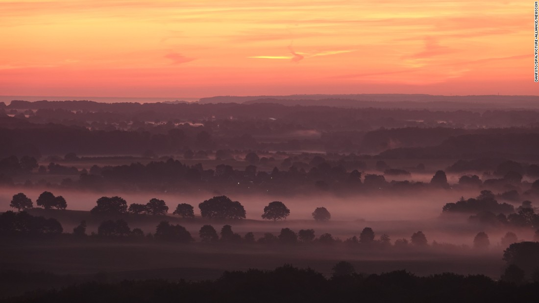 Fog envelops trees on the Hutten Hills during a sunset near Ascheberg, Germany, on Tuesday, September 6.
