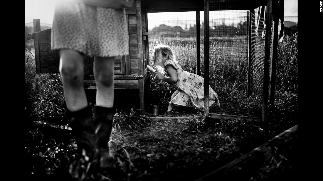 One of Boon's children investigates a chicken coop.