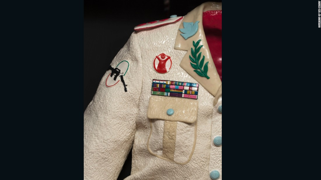 Savini created a military jacket bearing logos of peace in one of his latest sculptures.
