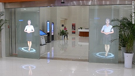 Holograms welcome visitors to the City Hall in Yinchaun,.