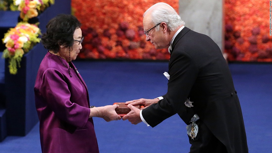 "In the 1970s, <a href=""http://www.cnn.com/2015/10/06/asia/china-malaria-nobel-prize-tu-youyou/"">Tu YouYou</a> discovered that artemisinin, a compound extracted from sweet wormwood, was effective in treating malaria. Tu Youyou and her research team tested more than 2,000 traditional Chinese recipes on mice before finding artemisinin, wihch saved millions of lives in malaria-stricken countries.<br /><br />The divided 2015 prize also went to Ireland's William C. Campbell and Japan's Satoshi Omura for ""their discoveries concerning a novel therapy against infections caused by roundworm parasites."" <br />"