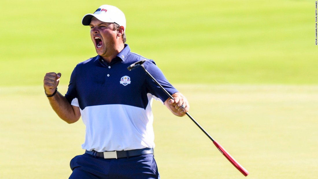 """U.S. golfer Patrick Reed celebrates his victory over Rory McIlroy on the final day of the Ryder Cup on Sunday, October 2. The American team won its first Ryder Cup since 2008, <a href=""""http://www.cnn.com/2016/10/02/golf/golf-ryder-cup-usa-europe/index.html"""" target=""""_blank"""">defeating Europe 17-11</a> in Chaska, Minnesota."""