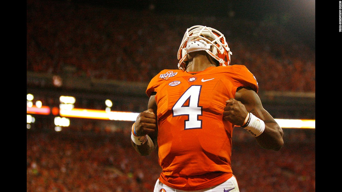 Clemson quarterback Deshaun Watson strikes a Superman pose after throwing a touchdown pass against Louisville on Saturday, October 1. Watson and the Tigers held off Louisville 42-36 in a battle of top-5 teams.