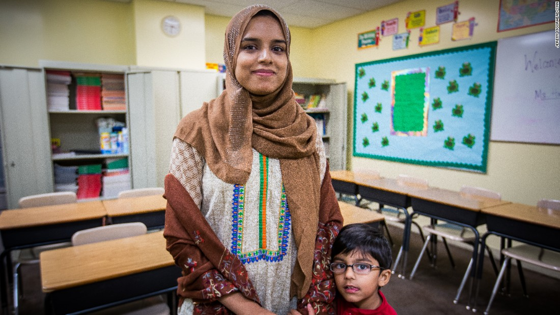 """Javeria Ahmed, teacher, mother to two children, lives in Sterling, Virginia. Born in Pakistan, undecided voter. <br /><br />""""At the end of the day, we're all the same. There is no difference. I think that is one thing that is concerning and alarming, because it is something new and you hear that and it's just like, oh, no, what is the future going to be like, especially for your kids."""""""
