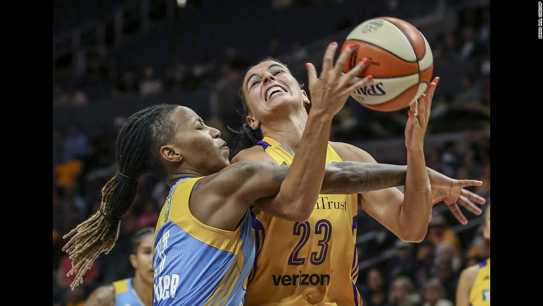 Los Angeles guard Ana Dabovic is fouled by Chicago's Jamierra Faulkner during the WNBA semifinals on Friday, September 30. The winner of the best-of-five series will face Minnesota in the finals.