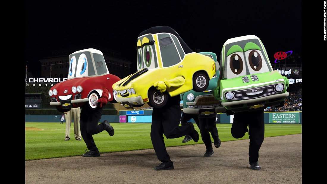 """The """"Motor City Wheels"""" mascot race takes place at a Detroit Tigers baseball game on Tuesday, September 27."""