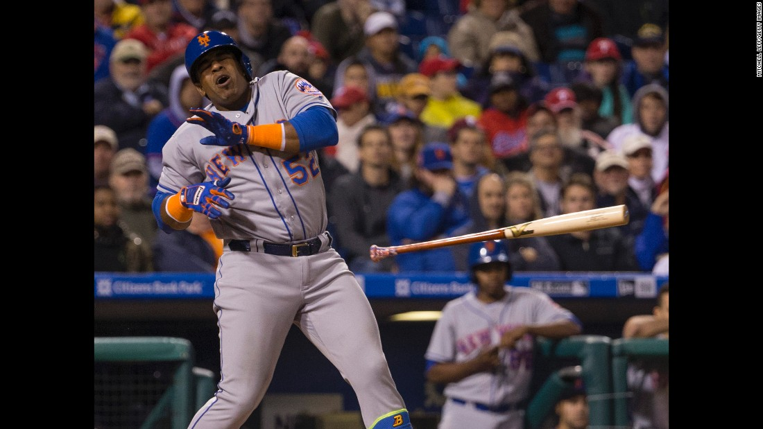 New York Mets outfielder Yoenis Cespedes avoids getting hit by a pitch during a game in Philadelphia on Friday, September 30.