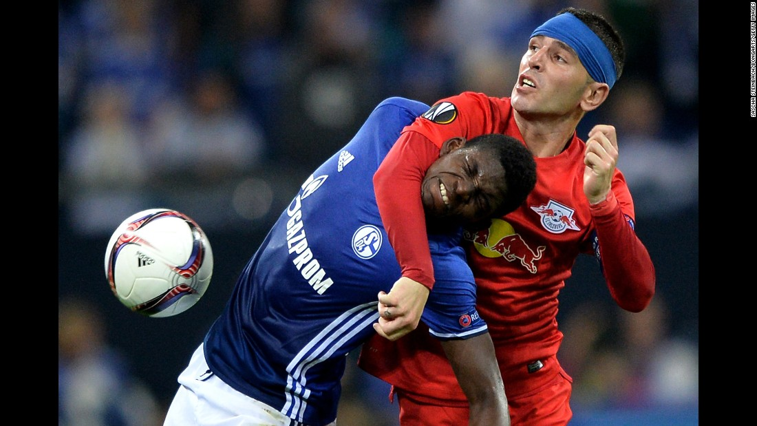 Schalke's Breel Embolo, left, and Salzburg's Jonathan Soriano battle for the ball during a Europa League match in Gelsenkirchen, Germany, on Thursday, September 29.