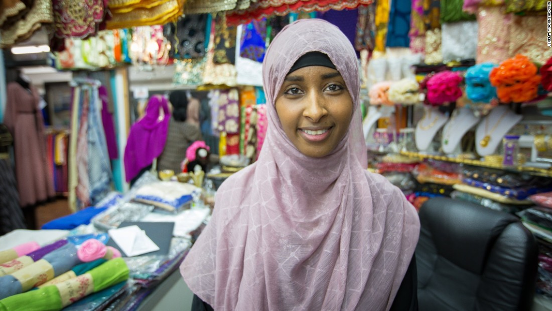 """Zamzam Ahmed, 22, born in Somalia, came to the U.S. at age 9, senior at St. Catherine University in St. Paul. Helps out at her mom's store at Karmel Square mall. <br /><br />""""Just not a fan of Hilary Clinton. I feel like a lot of the things she says are not sincere. I think she, and times it just seems like she'll say anything the opposite of what Trump says just to get those voters that Trump loses in a way.""""<br />"""