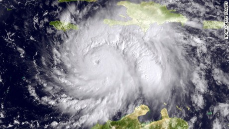 CARIBBEAN SEA - OCTOBER 3: In this NOAA handout image, taken by the GOES satellite at 1620 UTC shows Hurricane Matthew in the Caribbean Sea heading towards Jamacia, Haiti and Cuba on October 3, 2016. Matthew is a strong Category 4 hurricane, in the central Caribbean Sea and is poised to deliver a potentially catastrophic strike on Haiti.  (Photo by NOAA via Getty Images)