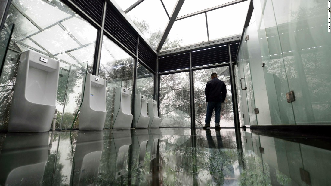 The walls, ceiling and floor are fully transparent, but the stretch of glass from the floor to just over the toilet seat is slightly frosted.