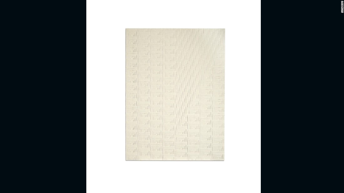 """American artist Auerbach works across painting, artists' books, photography and sculpture. This woven canvas is an early example of her iconic """"weave"""" paintings."""
