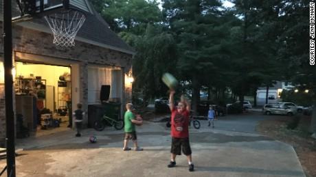 Max McNary, age 14, playing basketball