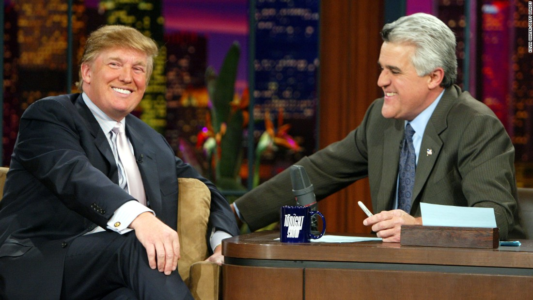 "In 1992, Leno became ""The Tonight Show's host,"" taking over from Johnny Carson. He fronted the program for 17 years until 2009 and then again from 2010-2014, making him its second longest serving presenter after Carson. Leno is pictured with US presidential candidate Donald Trump."