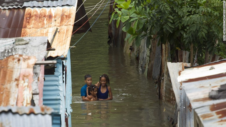 A neighborhood in Santo Domingo, Dominican Republic, is flooded.